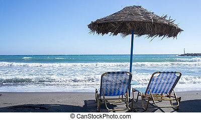 chaises, plage, délassant, pont
