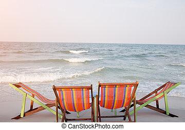 chaises, plage, deux, pont