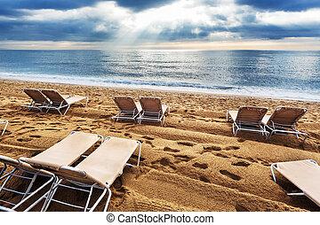 chaises, plage, pont