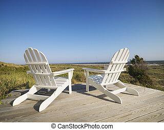chaises, plage., pont