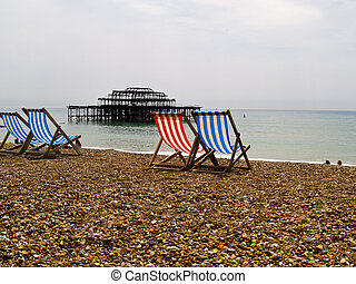 chaises, plage., vide, pont