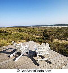 chaises, pont, plage.