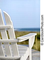 chaises, pour, adirondack, pointage, ocean.