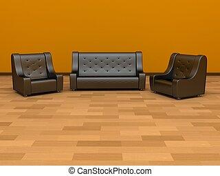 chaises, sofa, deux