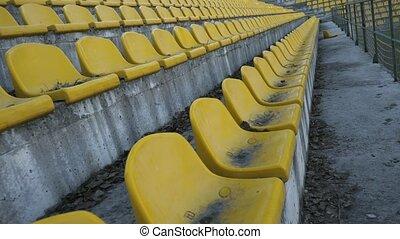 chaises, vide, 4k, jaune, stade