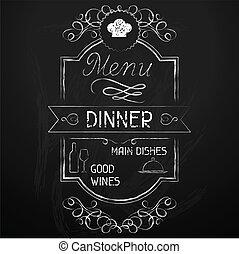 chalkboard., menu, dîner, restaurant