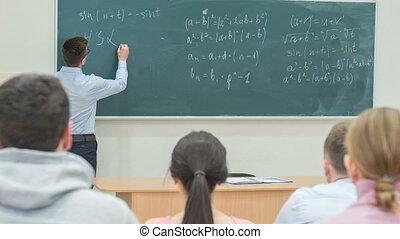 chalkboard., prof, écriture