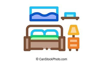 chambre à coucher, icône, animation