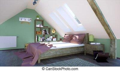 chambre à coucher, intérieur, grenier, moderne, lit, 3d, double