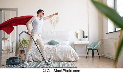 chambre à coucher, nettoyage, déguisement, moquette, vide, surhomme, maison, type, nettoyeur