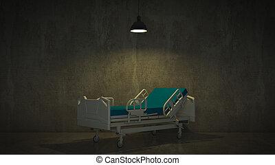chambre hôpital, lit