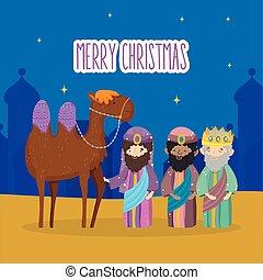 chameau, mangeoire, rois, noël, sage, nativité, trois, joyeux