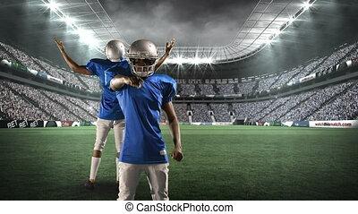 champ, américain, joueurs, football