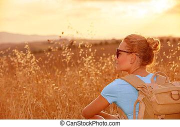 champ, apprécier, blé, coucher soleil