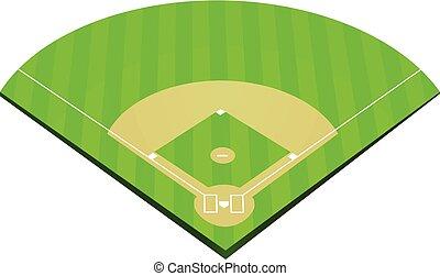 champ, base-ball, vecteur