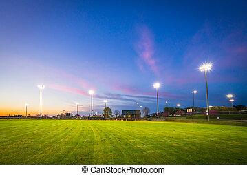 champ coucher soleil, base-ball