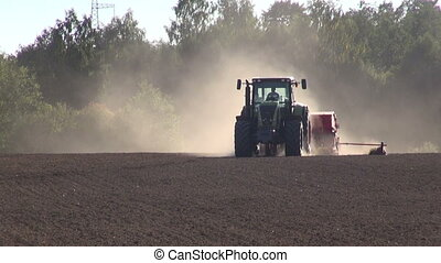 champ, ensemencer, grain, tracteur, récolte