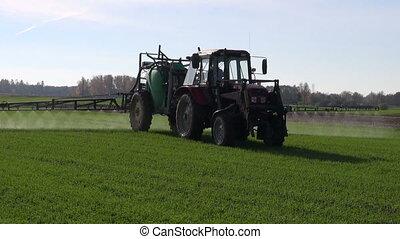 champ ferme, pulvérisation, tracteur, récolte