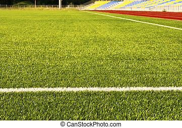 champ, grass., football, vert, stade