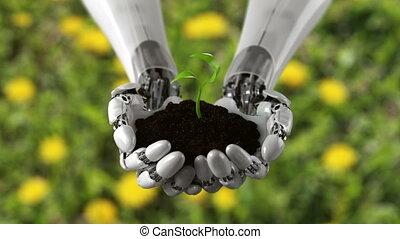 champ herbe, main, détaillé, ultra, défaillance, sol, beau, temps, robotique, arrière-plan., croissant, 3840x2160, élevé, animation, conceptuel, tient, plante, 3d, 4k, hd