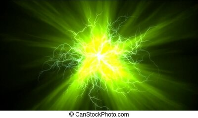 champ, magnétique, éclair, vert, &