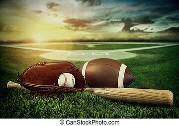 champ, moufle, chauve-souris, coucher soleil, base-ball