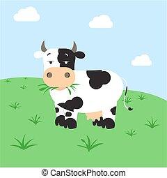 champ, pâturage, vache
