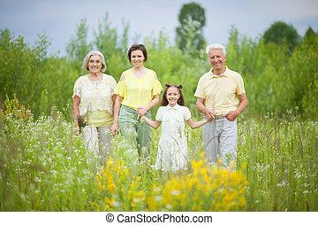 champ, petite-fille, portrait, famille, heureux