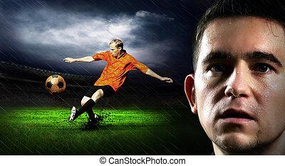 champ, pluie, joueur, nuit, portrait, football