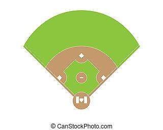 champ, présentation, sommet, arrière-plan., base-ball, blanc, vue