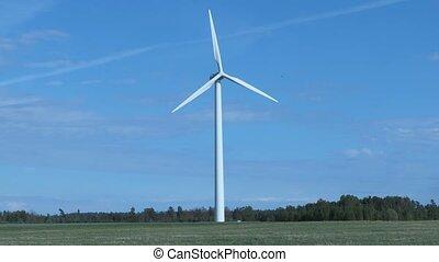 champ, turbine, jour ensoleillé, vent