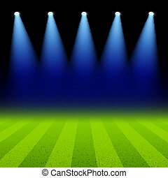 champ, vert, projecteurs, éclairé