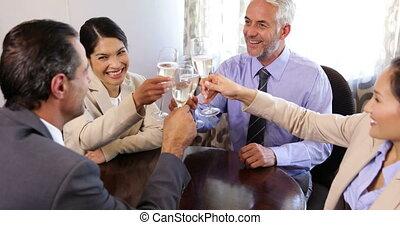 champagne, associés, boire, business