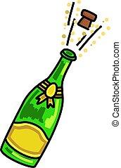champagne, carto, sauter, célébration