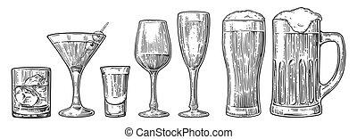 champagne, cocktails, bière, whisky, vin verre, ensemble, cognac, tequila