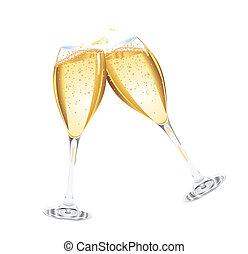 champagne, deux, lunettes