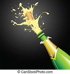 champagne, explosion, bouteille, bouchon