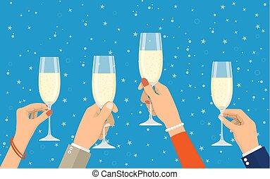champagne, gens, tenir verres