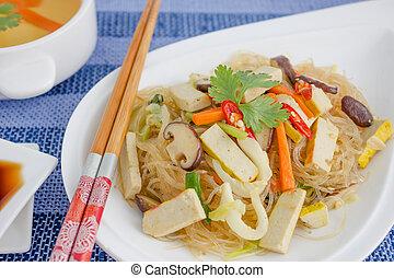 champignon, chinois, tofu, cristal, cuisine, nouilles