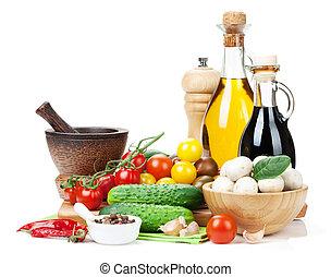 champignon, ingrédients, sp, concombre, cooking:, frais, tomate