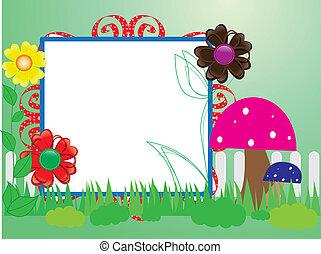 champignons, bébé, fleurs, barrière, scrapbook(10)