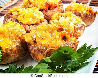 champignons, bourré