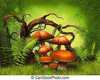 champignons, fantasme, forêt