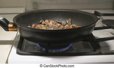 champignons, mélange, frit, noir, moule