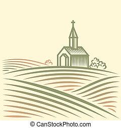 champs, église