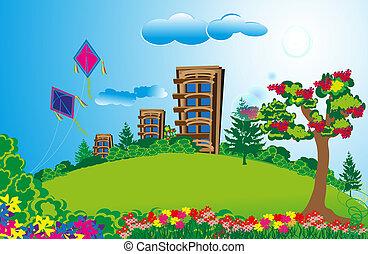 champs, appartement, vert, long, grand