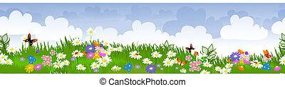 champs, fleur, frontière, seamless
