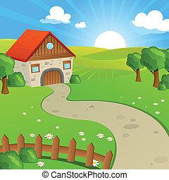 champs, vecteur, collines, paysage