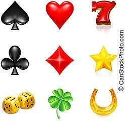 chance, jeux & paris, ensemble, icône