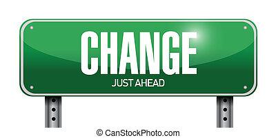 changement, conception, route, illustration, signe